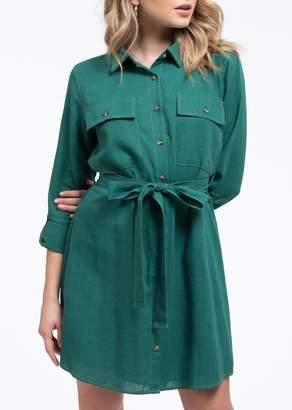 Blu Pepper Contrast Stitch Shirt Dress