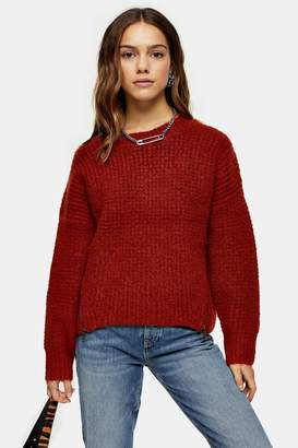 Topshop Womens Petite Rust Knitted Waffle Jumper - Rust