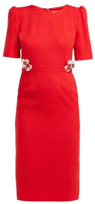 Goat Hush Floral-embellished Wool-crepe Midi Dress - Womens - Red