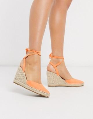 Truffle Collection heeled tie leg espadrille wedges in orange