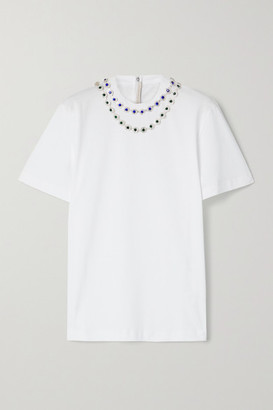 Christopher Kane Crystal-embellished Cotton-jersey T-shirt - White