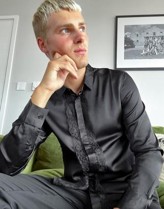 ASOS DESIGN regular fit satin shirt with lace trim placket in black