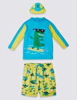 Marks and Spencer 3 Piece Dinosaur Print Swim Outfit (0-5 Years)