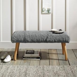 The White Company Grey Curly Sheepskin Bench, Grey, One Size
