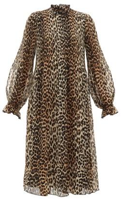 Ganni Leopard-print Plisse-georgette Dress - Leopard