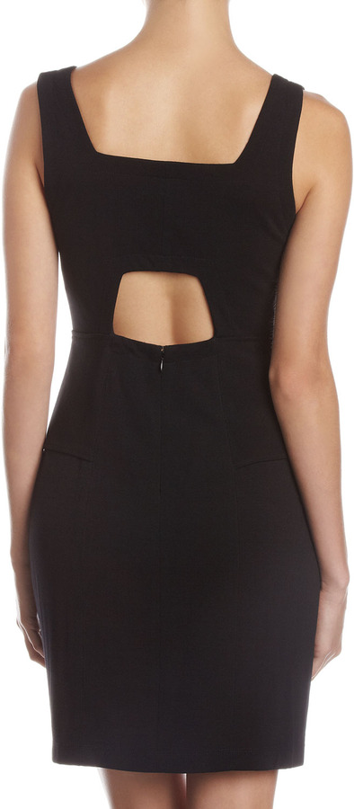 Muse Cutout Back Peplum Dress, Black