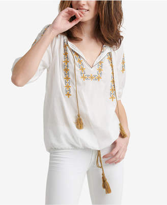 Lucky Brand Embroidered Kelly Peasant Top