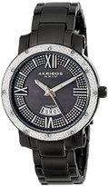 Akribos XXIV Women's AK507BK Diamond Accented Swiss Quartz Black Stainless Steel Bracelet Watch