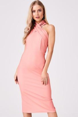 Girls On Film Seduce Coral Halter Midi Bodycon Dress