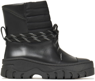 Ganni Quilted Shell-paneled Leather Ankle Boots