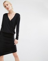 Gestuz Ruched Bodycon Dress with Wrap Front