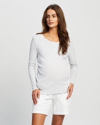 Cotton On Maternity - Women's Grey Maternity T-Shirts - Maternity Henley Long Sleeve Top - Size L at The Iconic