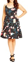 City Chic Plus Size Women's 'Floral Delight' Floral Print Fit & Flare Dress