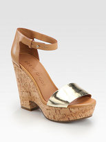 See by Chloe Metallic Leather Cork Wedge Sandals