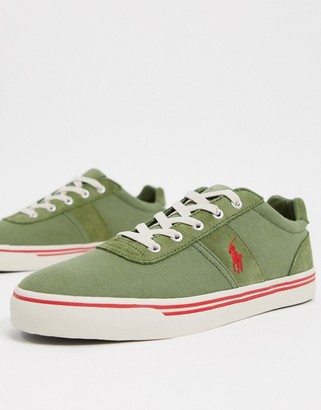 Polo Ralph Lauren hanford sneaker in green with red logo