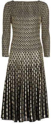 St. John Two-Tone Ribbon Float Midi Dress