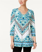 JM Collection Floral-Print Chain-Detail Top, Only at Macy's