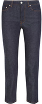 Acne Studios Row Raw Cropped Mid-rise Straight-leg Jeans - Dark denim