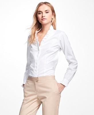 Brooks Brothers Petite Non-Iron Ruffle Pinpoint Oxford Dress Shirt
