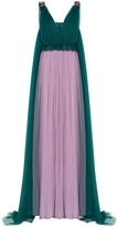 DELPOZO Sleeves Tulle Cape Dress