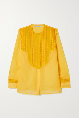 RUE MARISCAL Cotton And Silk-blend Voile And Crochet Shirt - Yellow