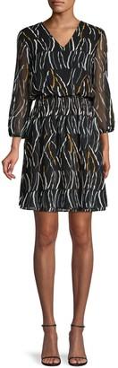 Donna Karan Printed Blouson Dress