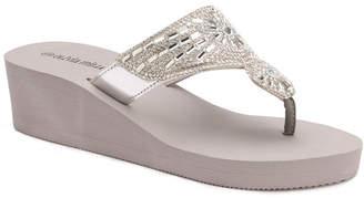 OLIVIA MILLER Hawthorne Multi Rhinestone Wedge Sandals Women Shoes
