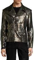 Miguel Antoinne Men's Leather Printed Biker Jacket