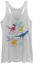 Fifth Sun Women's Tank Tops WHITE - White Heather Dinosaur List Racerback Tank - Women & Juniors