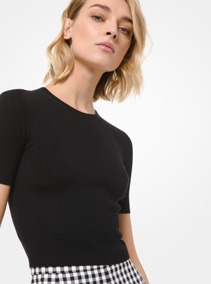 Michael Kors Collection Featherweight Cashmere Cropped Short-Sleeve Sweater
