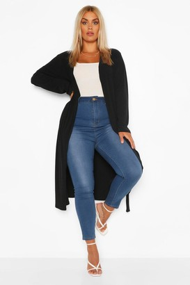 boohoo Plus Soft Knit Rib Longline Belted Cardigan