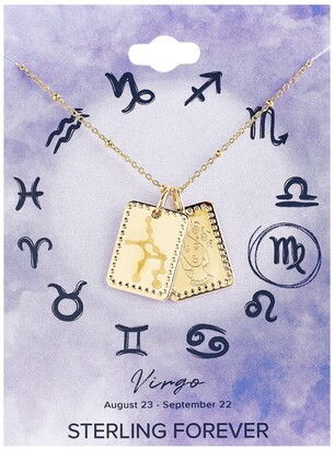 Sterling Forever 14K Gold Plated Brass Zodiac Tag Necklace - Virgo