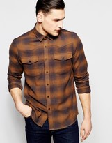 Asos Shadow Check Shirt In Western Styling With Long Sleeves In Regular Fit