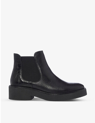 Bertie Crocodile-embossed leather Chelsea boots