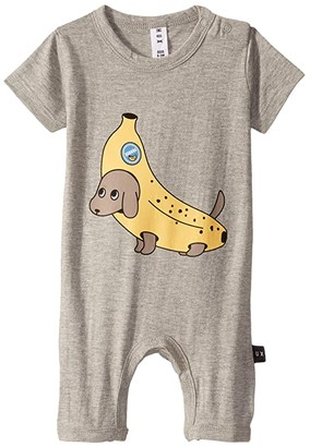 HUXBABY Banana Dog Short Romper (Infant) (Grey Marle) Kid's Jumpsuit & Rompers One Piece