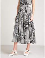 Co Polka dot-print silk midi skirt