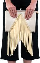 Missy Empire Connie Cream Fringed Tassel Clutch Bag