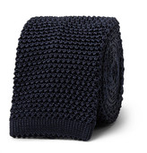 Richard James 6cm Knitted Silk Tie - Midnight blue