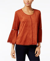 Style&Co. Style & Co. Faux-Suede Bell-Sleeve Top, Only at Macy's