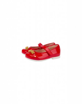 Moschino Patent Leather Ballerinas With Logo Unisex Red Size 20 It - (4k Us)