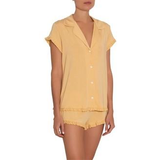 Eberjey Ruthie Short Sleeve Ruffle PJ Set Ochre XL