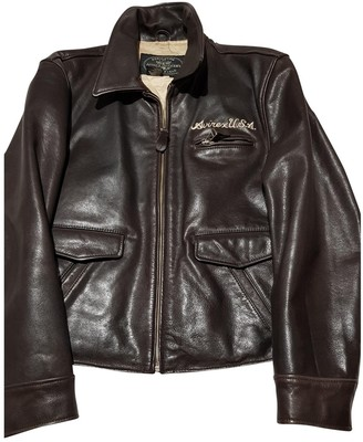 Avirex Brown Leather Leather Jacket for Women Vintage