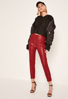 Missguided Petite Exclusive Red Faux Leather Lace Up Trousers