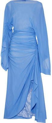 Thierry Mugler Ruched Mesh Midi Dress