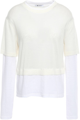 Alexander Wang Paneled Cotton-jersey And Merino Wool Top
