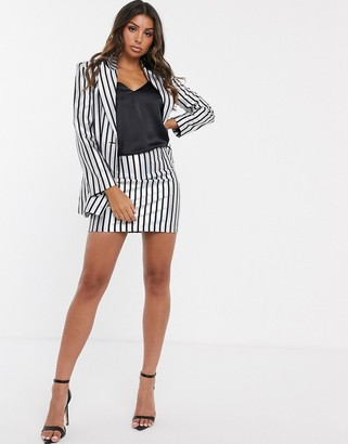 Asos DESIGN metallic stripe mini suit skirt