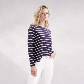 The White Company Wrap Back Stripe T-Shirt, Navy/White, 8