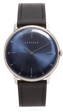 Sekford Watches - Type 1a Stainless-steel And Saffiano-leather Watch - Mens - Black Navy
