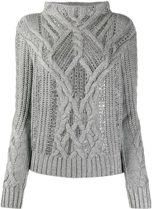 Ermanno Scervino Crystal-Embellished Cable Knit Jumper