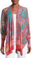 Fuzzi Bishop-Sleeve Tulle Kimono, Pink Pattern